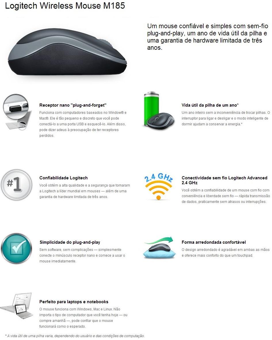 Mouse Óptico Wireless 1000dpi M185 LOGITECH - MegaMamute