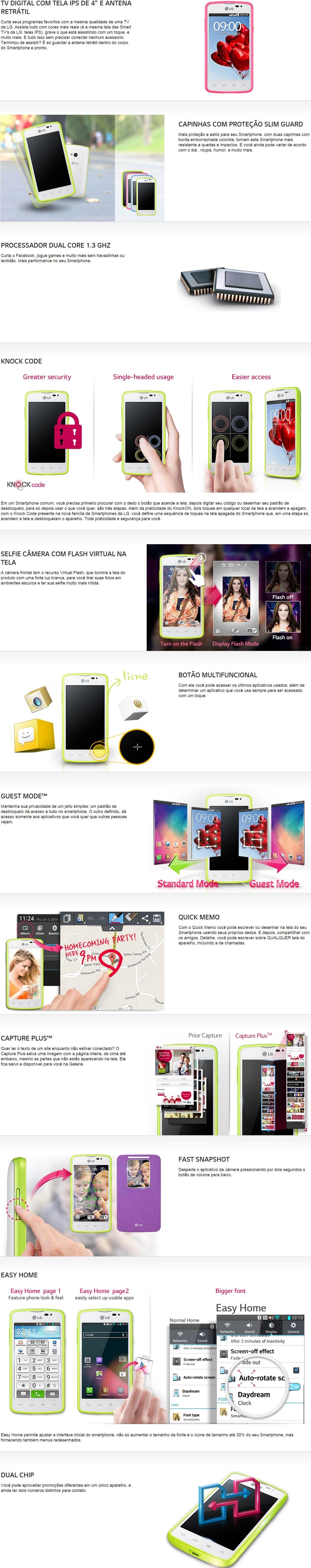 57711a2baef O Smartphone L50 Sporty Dual da LG possui TV Digital integrada para você  assistir seus programas favoritos em qualquer lugar. Conta com tela de 4