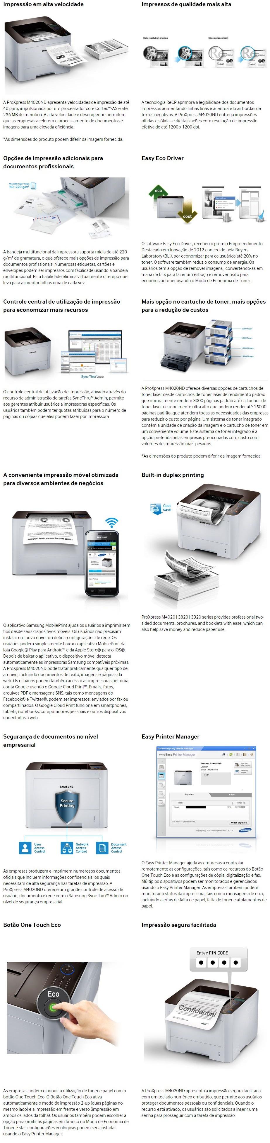 A impressora laser SL-M4020ND da Samsung possui alta velocidade de  impressão, até 40ppm. Oferece ótimo desempenho para você imprimir seus  documentos de ... a9906bfc5c
