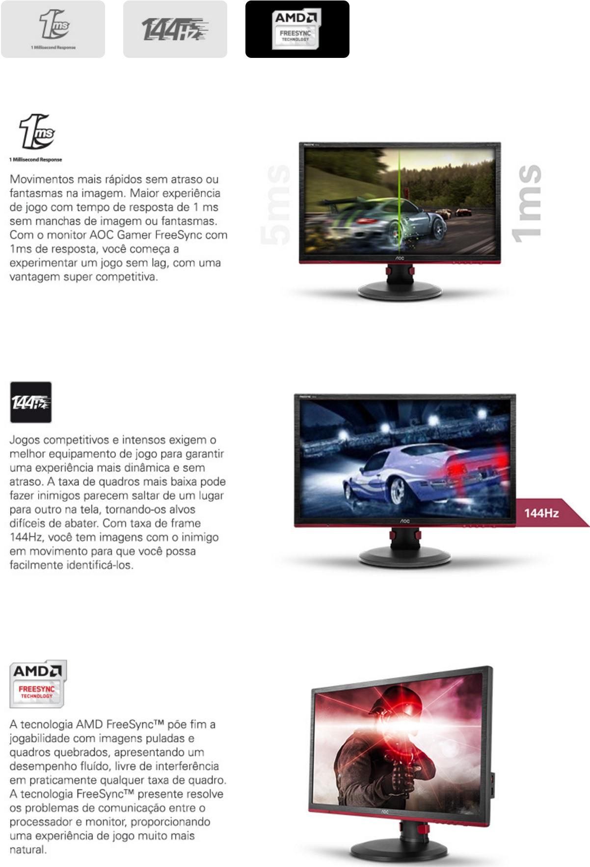 Recusos do Monitor Gamer LED 24pol AOC 144Hz 1ms Full HD 1 HDMI G2460PF
