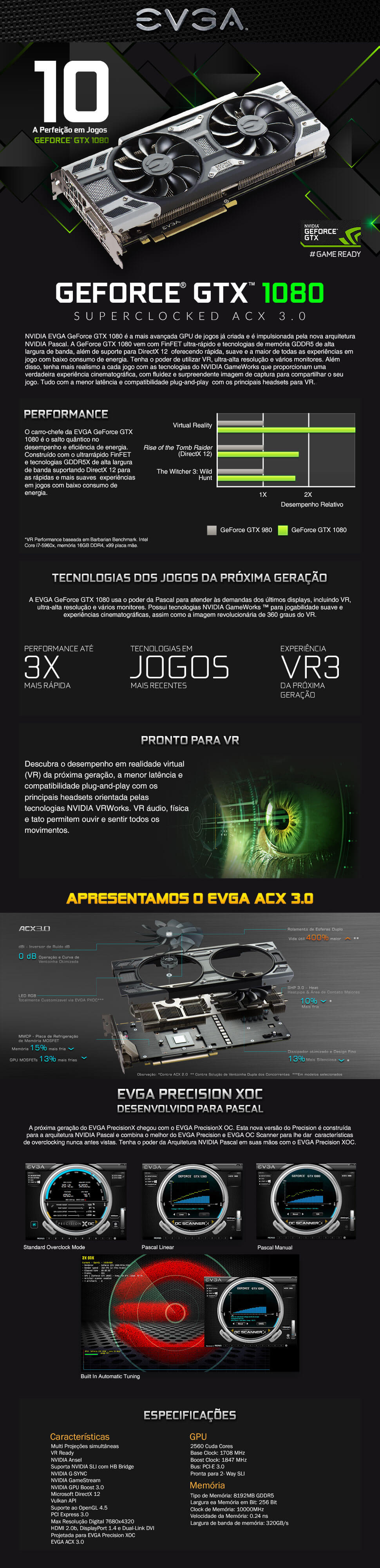 Recursos Placa de Vídeo EVGA GeForce GTX 1080 SC Gaming ACX 3.0 8GB GDDR5X PCI-Express 3.0 08G-P4-6183-KR