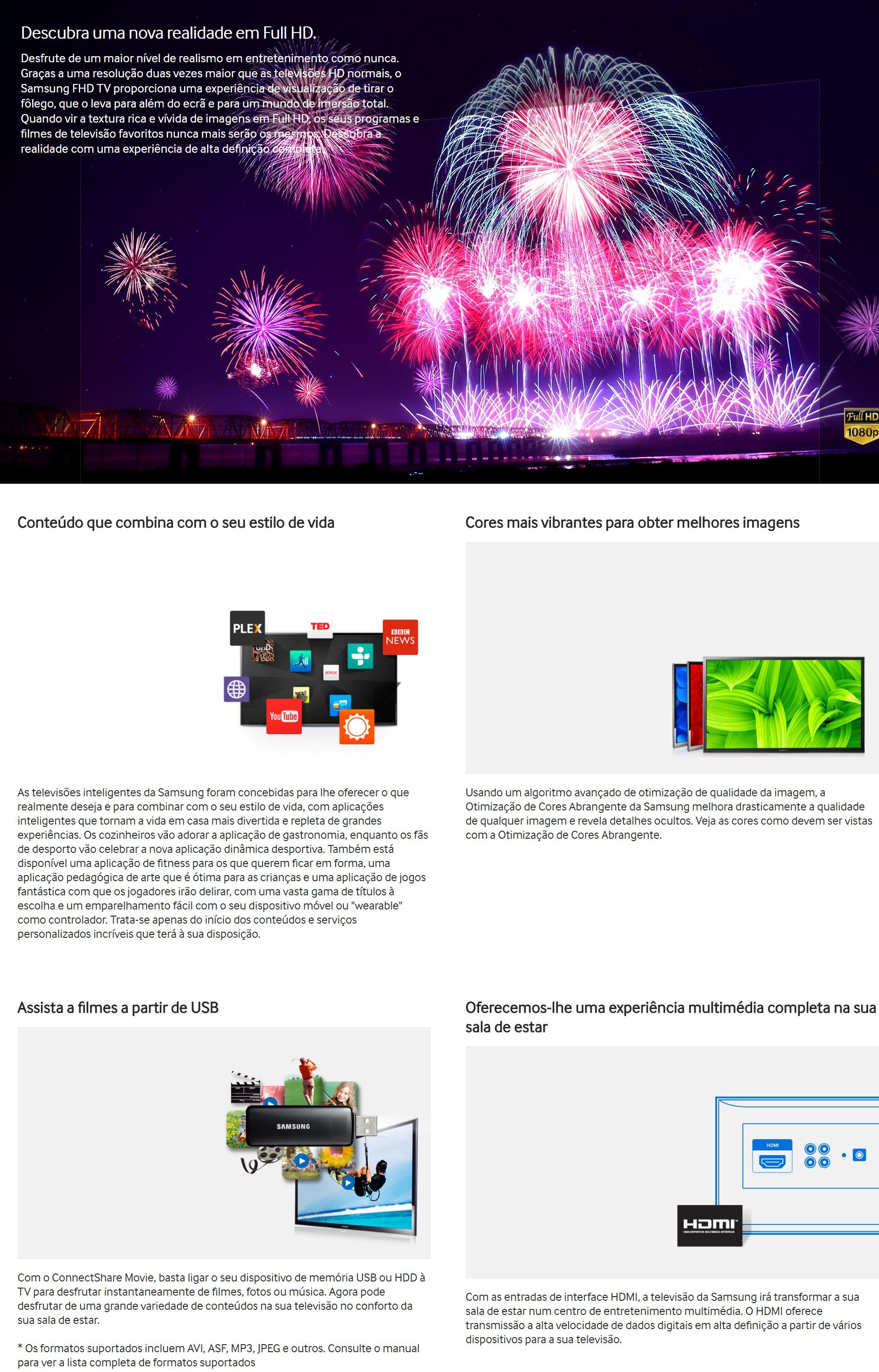 Smart TV LED 48 Full HD Samsung 48J5200 2 HDMI 1 USB Wi-Fi Integrado Conversor Digital