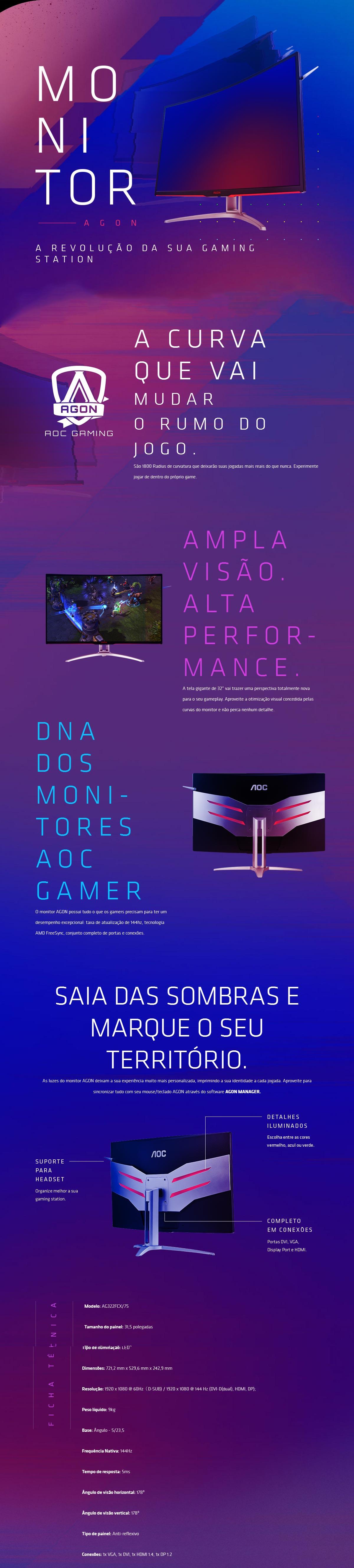 Recursos do Monitor Gamer LED 31,5pol AOC Agon 144Hz 5ms Tela Curva Full HD
