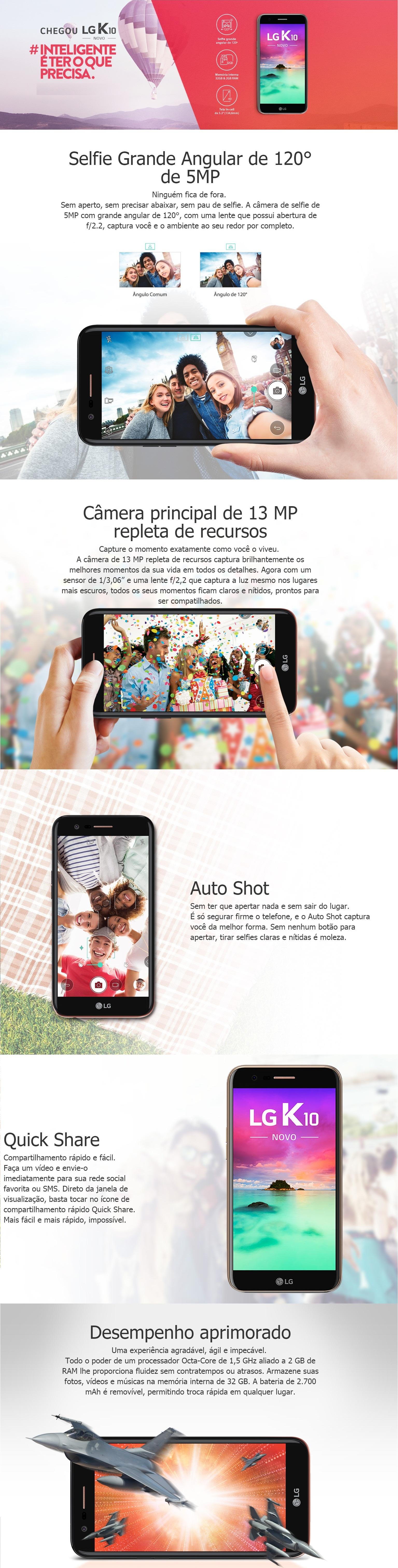 Smartphone LG K10 Novo 32GB Dual Chip 4G Tela 5.3 Câmera 13MP Câmera Frontal 5MP Android 7.0