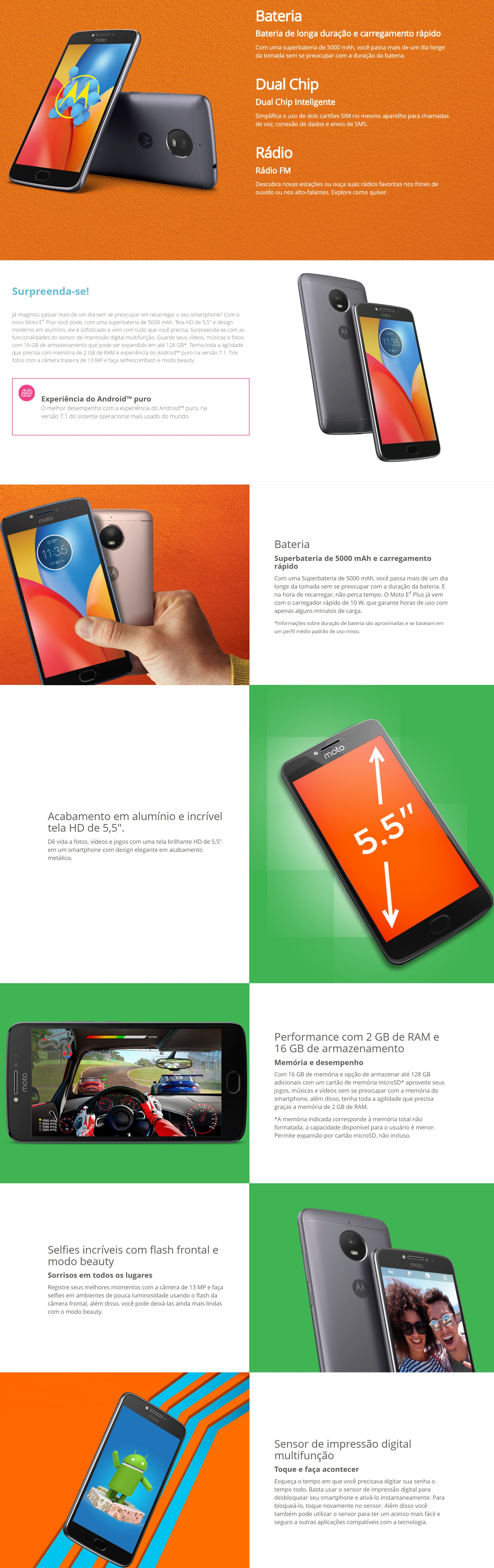 Recursos do Smartphone Motorola Moto E4 16GB Dual Chip 4G Tela 5 Câmera 13MP Selfie 5MP Android 7.1