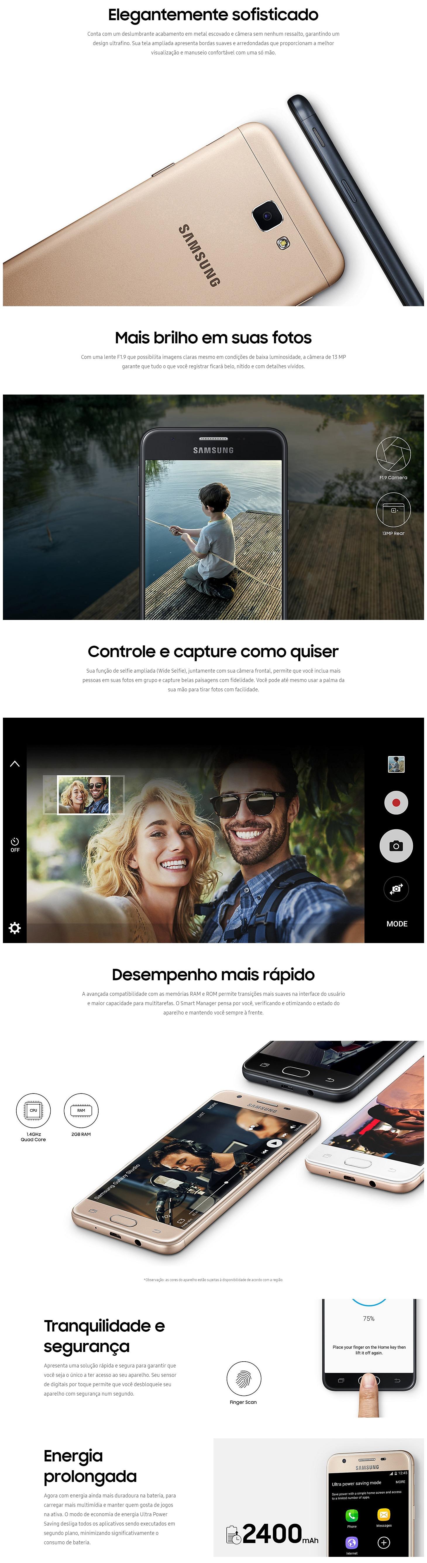 Recursos do Smartphone Samsung Galaxy J5 Prime 32GB Dual Chip 4G Tela 5 Câmera 13MP Selfie 5MP Android 6.0