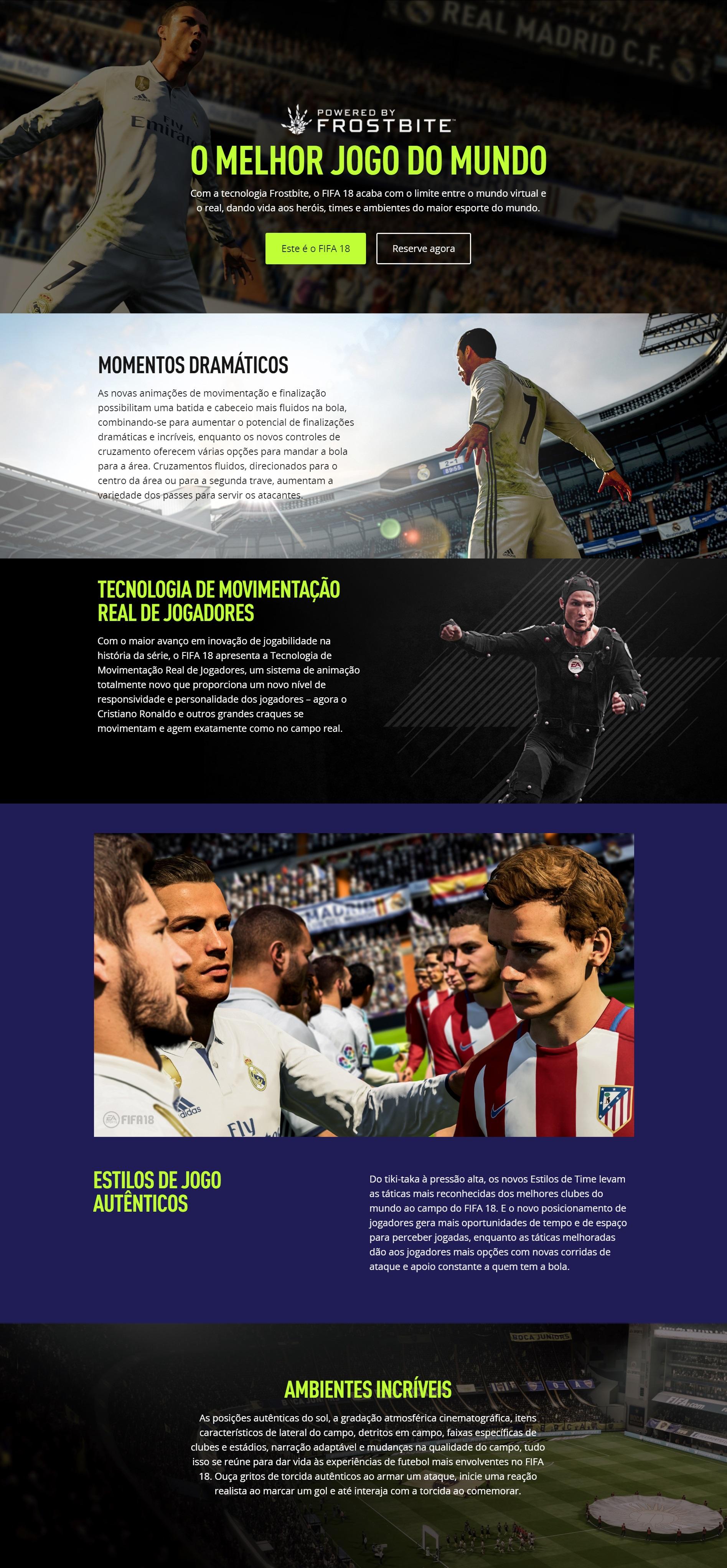 Recursos do Game FIFA 18