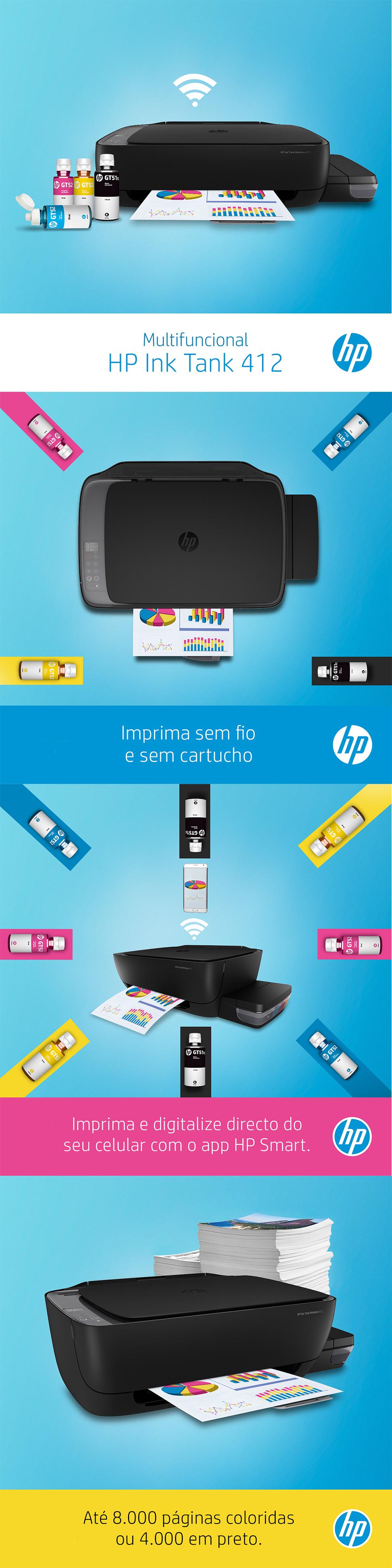Recursos da Impressora Multifuncional HP Deskjet GT 412 Wi-Fi Bivolt